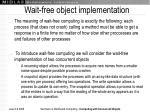 wait free object implementation