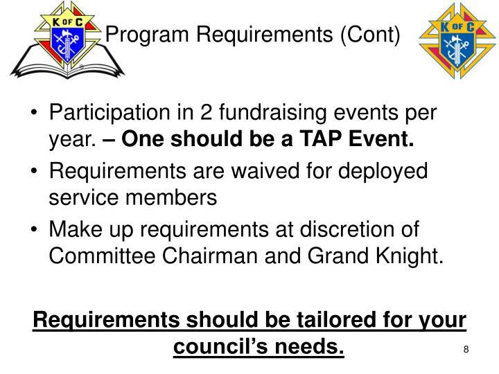 Program Requirements (Cont)