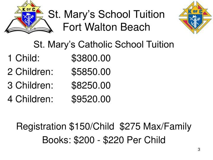 St. Mary's School Tuition