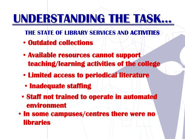 THE STATE OF LIBRARY SERVICES AND