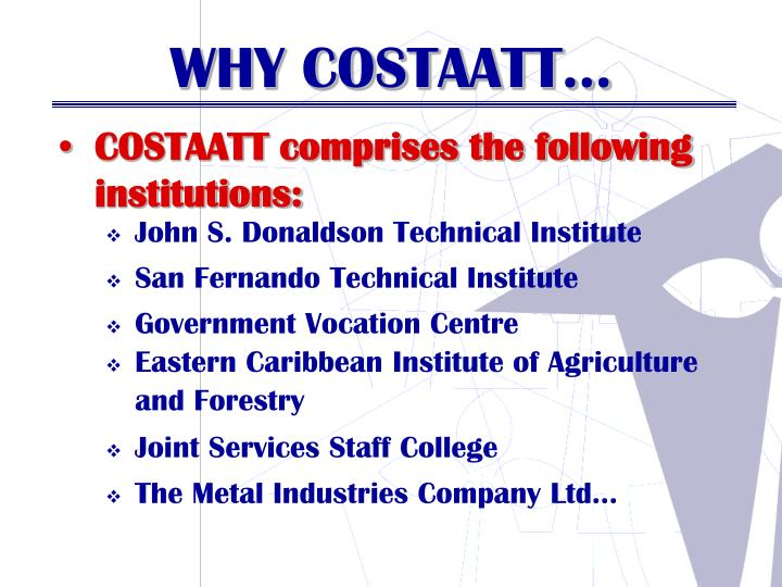COSTAATT comprises the following institutions: