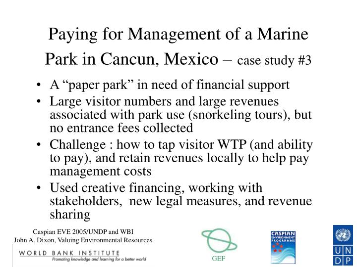 Paying for Management of a Marine Park in Cancun, Mexico –