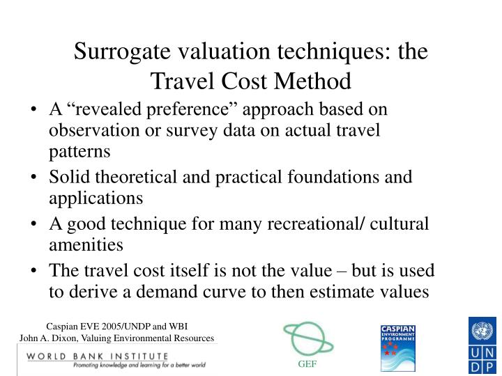 Surrogate valuation techniques: the Travel Cost Method