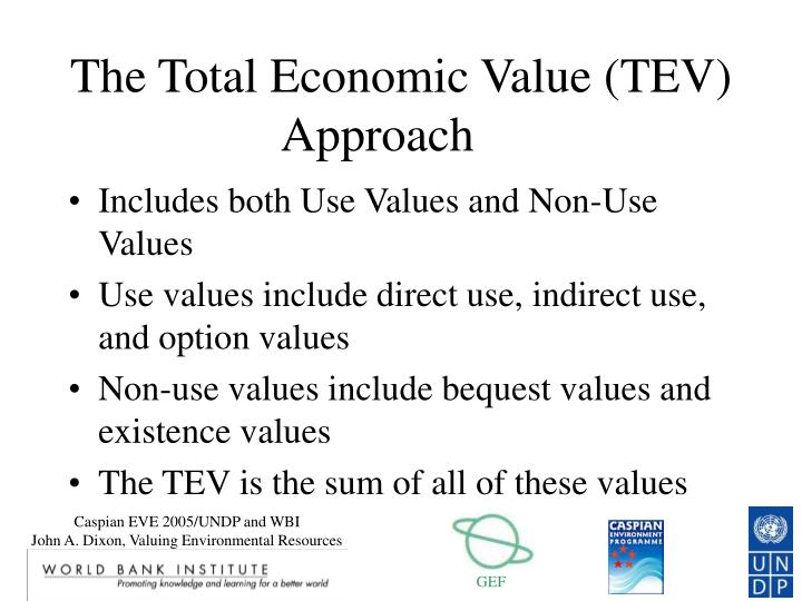 The Total Economic Value (TEV) Approach