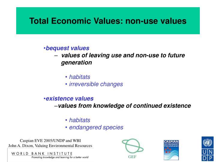 Total Economic Values: non-use values