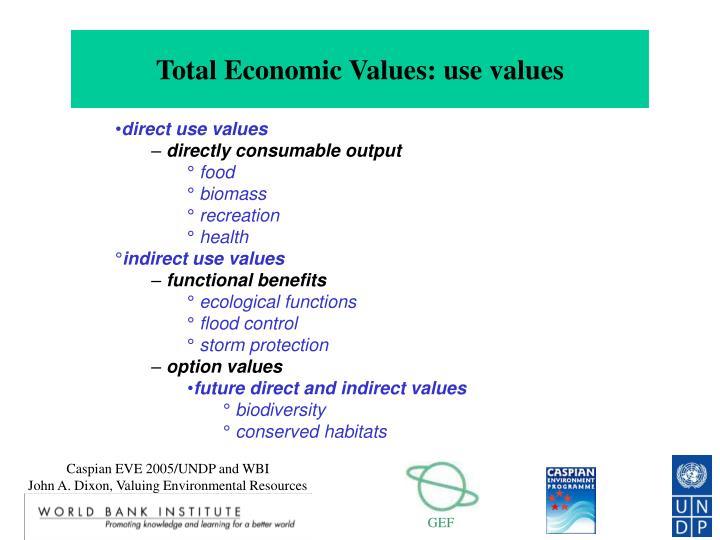 Total Economic Values: use values