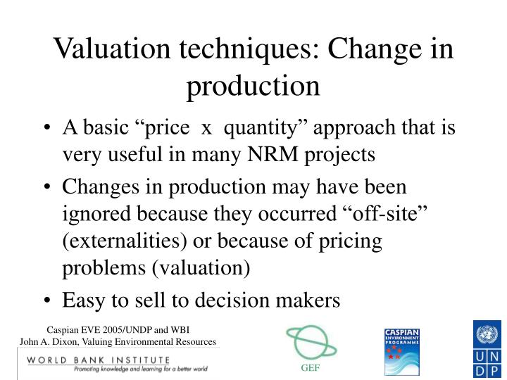 Valuation techniques: Change in production
