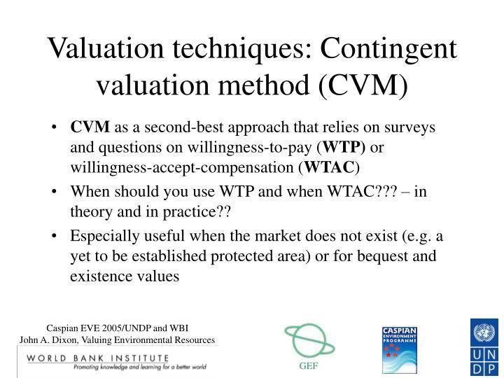 Valuation techniques: Contingent valuation method (CVM)