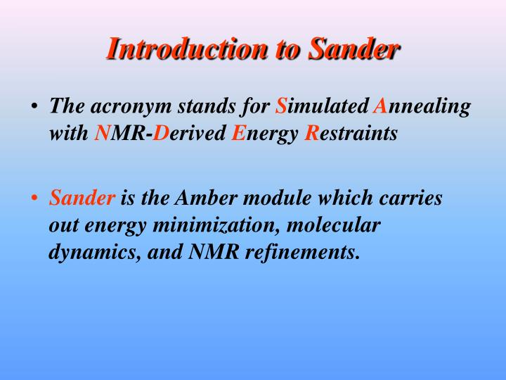 Introduction to Sander