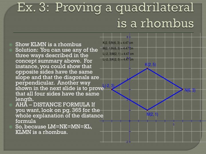 Show KLMN is a rhombus