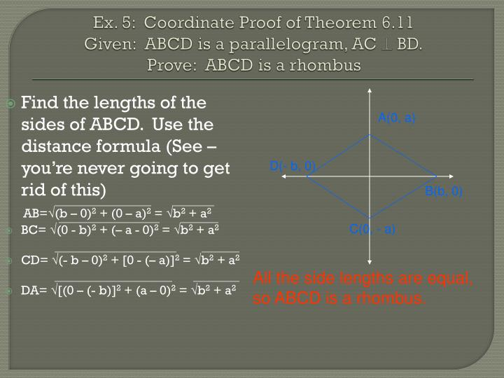 Ex. 5:  Coordinate Proof of Theorem 6.11