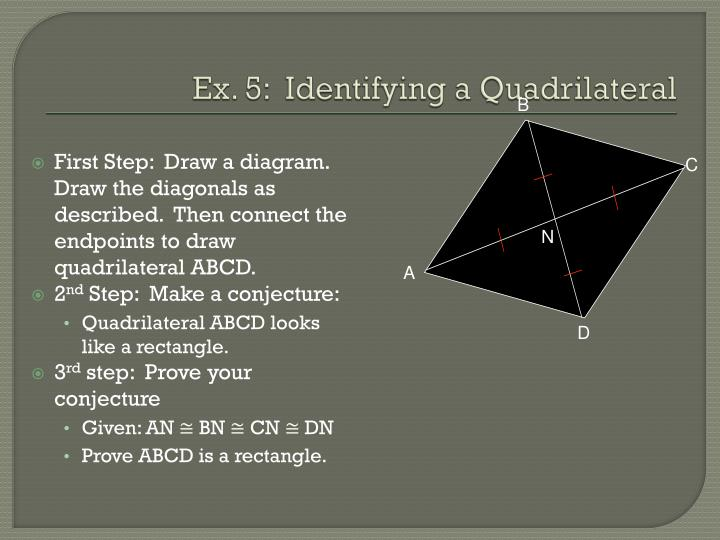 First Step:  Draw a diagram.  Draw the diagonals as described.  Then connect the endpoints to draw quadrilateral ABCD.