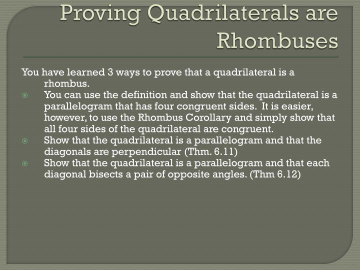 Proving Quadrilaterals are Rhombuses