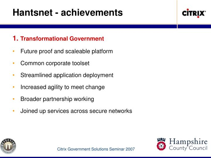 Hantsnet - achievements