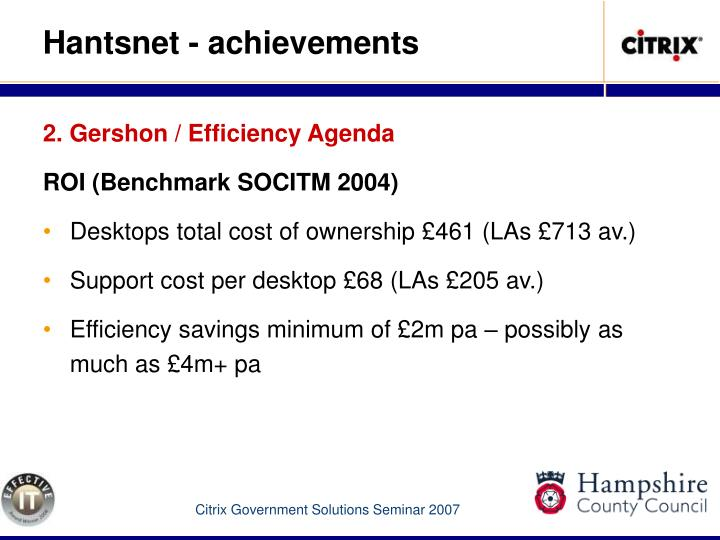 2. Gershon / Efficiency Agenda