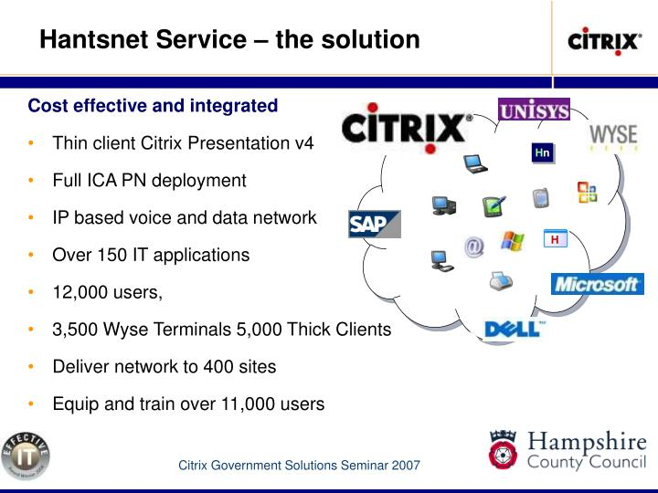 Hantsnet Service – the solution