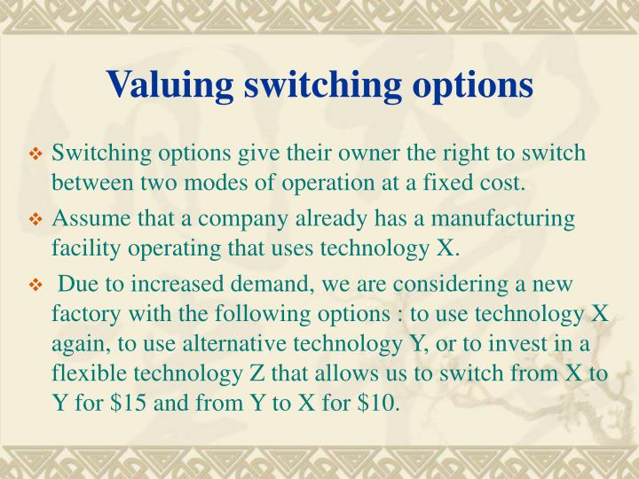 Valuing switching options