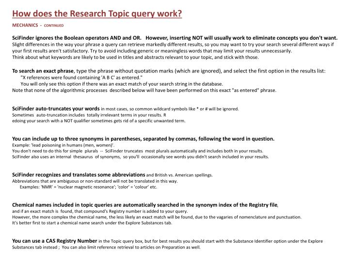 How does the Research Topic query work?