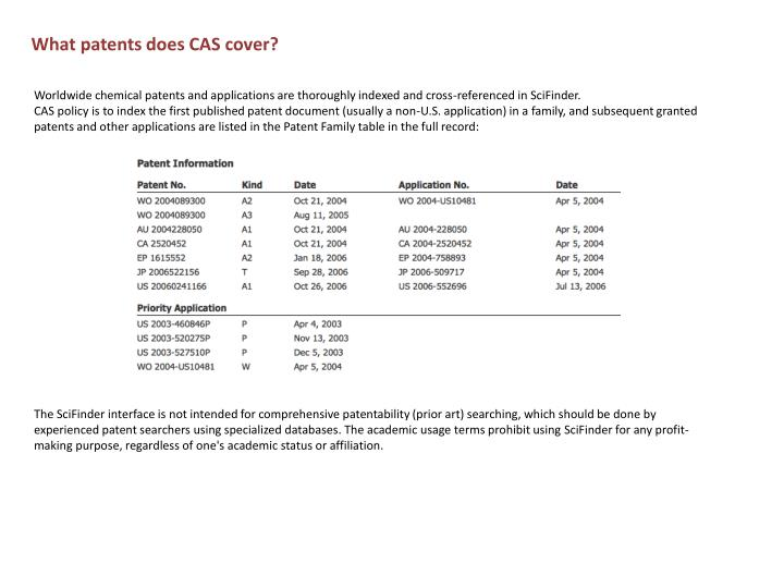 What patents does CAS cover?