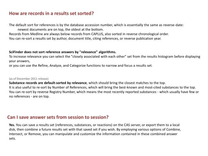 How are records in a results set sorted