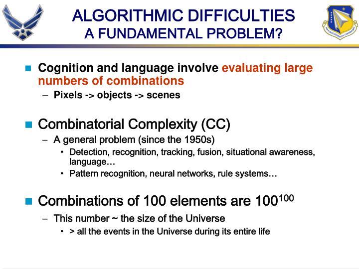 ALGORITHMIC DIFFICULTIES