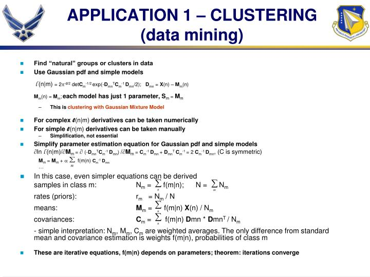 APPLICATION 1 – CLUSTERING