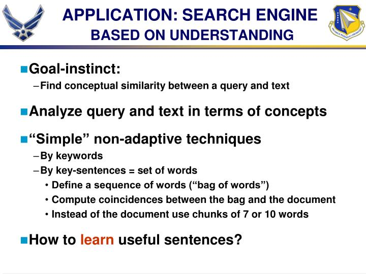APPLICATION: SEARCH ENGINE