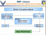 nmf closure basic two layer hierarchy signals and concepts