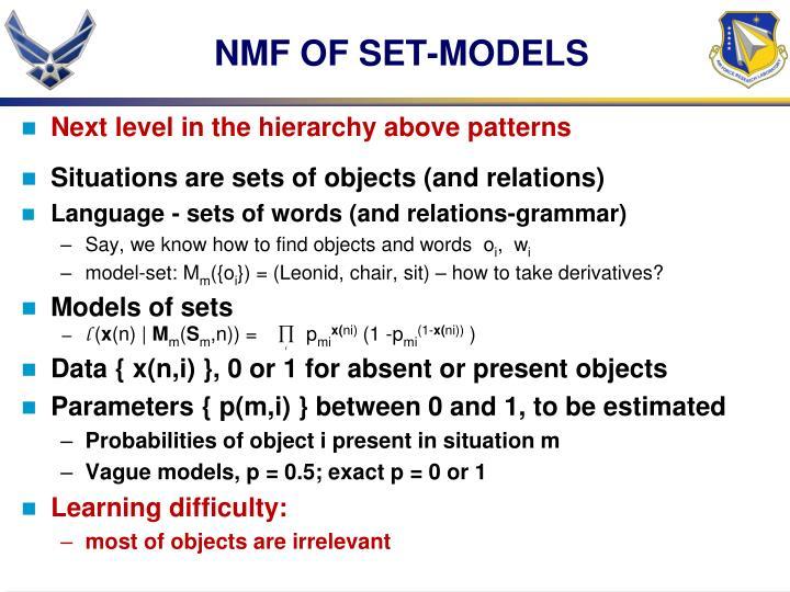 NMF OF SET-MODELS