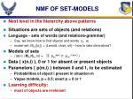 nmf of set models