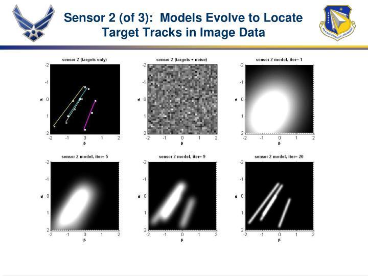 Sensor 2 (of 3):  Models Evolve to Locate Target Tracks in Image Data