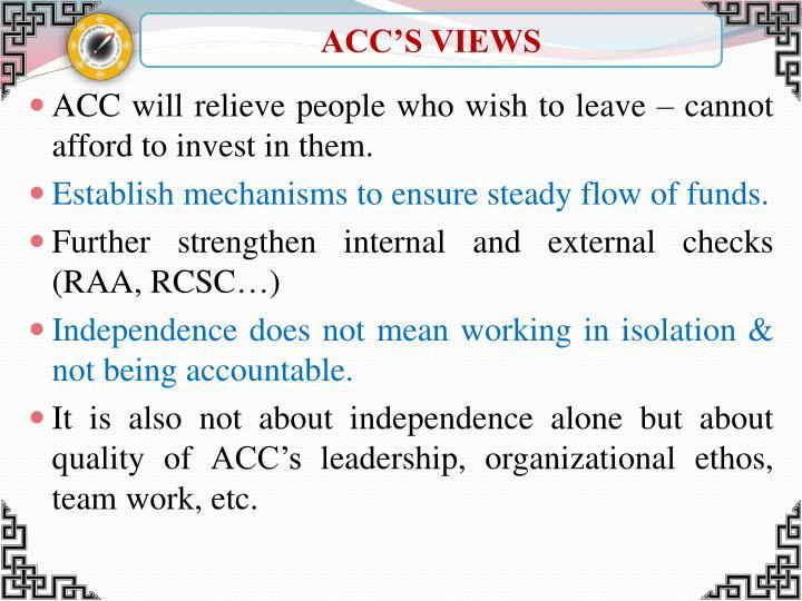 ACC'S VIEWS