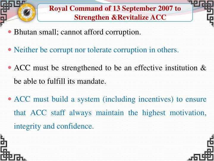 Royal Command of 13 September 2007 to Strengthen &Revitalize ACC