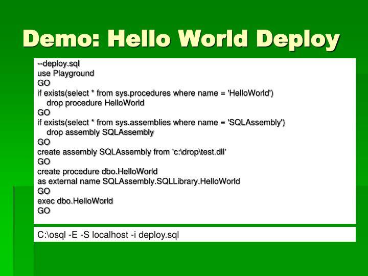 Demo: Hello World Deploy