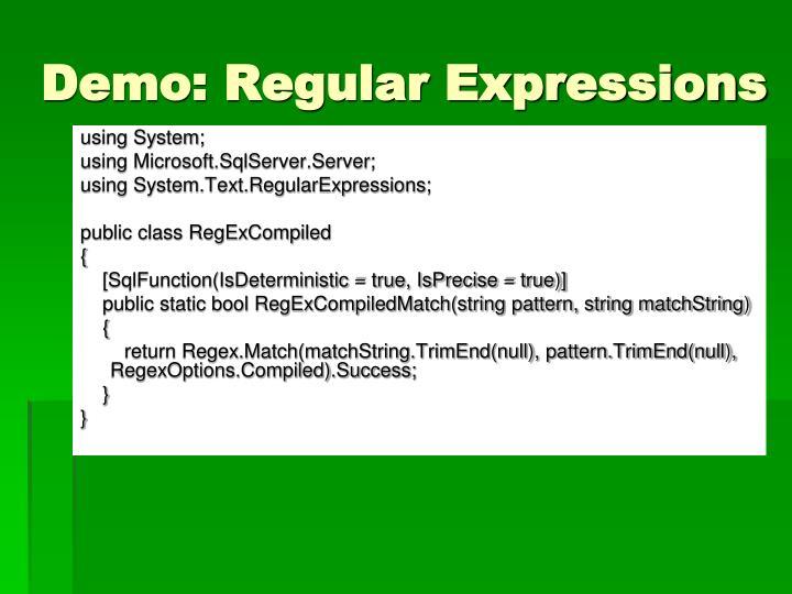 Demo: Regular Expressions