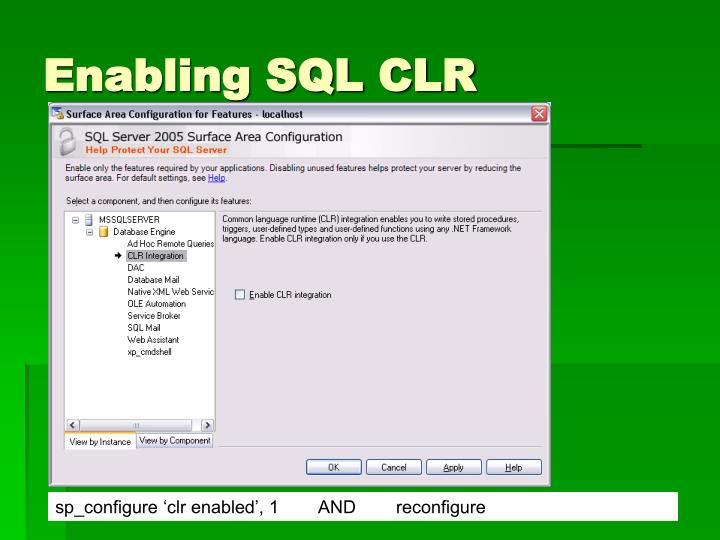 Enabling SQL CLR