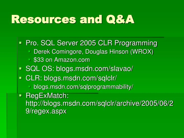 Resources and Q&A