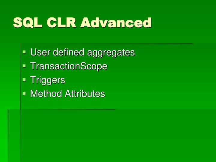 SQL CLR Advanced