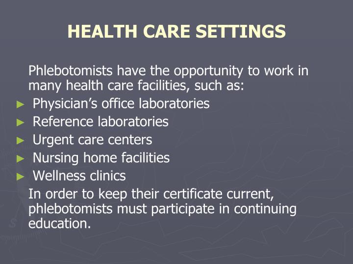 HEALTH CARE SETTINGS