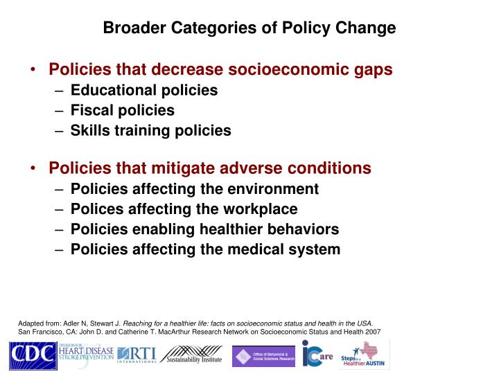 Broader Categories of Policy Change