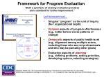 framework for program evaluation