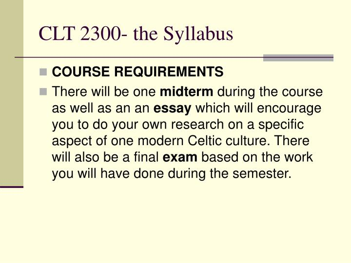 Clt 2300 the syllabus