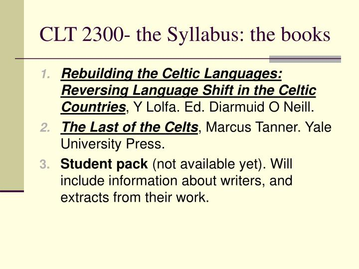 Clt 2300 the syllabus the books