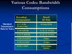 various codec bandwidth consumptions