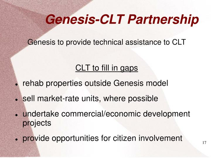 Genesis to provide technical assistance to CLT