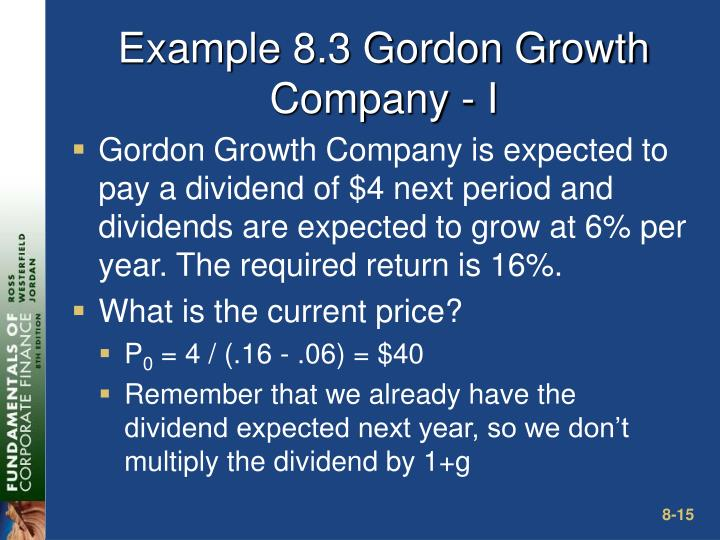 Example 8.3 Gordon Growth