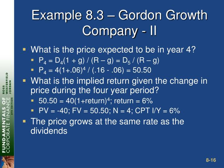 Example 8.3 – Gordon Growth