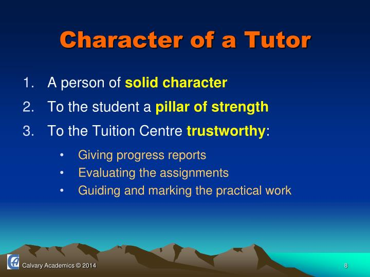 Character of a Tutor