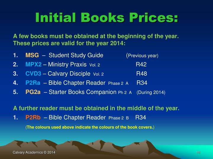 Initial Books Prices: