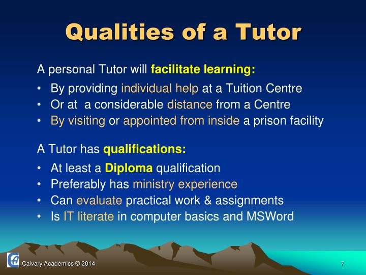Qualities of a Tutor